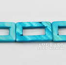 Shell Beads, Turquoise Blue Color, 20*30mm dyed rectangle hollow out, Sold per 15-inch strand