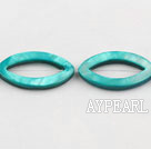 Shell Beads, Peacock Green, 3*20*35mm dyed hollow out horse eye shape, Sold per 15-inch strand