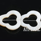 Shell Beads, White, 3*25mm hollow out flower shape, Sold per 15-inch strand