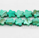 Shell Beads, Green, 3*10mm dyed quincunx, Sold per 15-inch strand