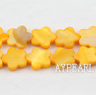 Shell Beads, Yellow, 3*12mm dyed quincunx, Sold per 15-inch strand