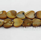 Shell Beads, Brown, 3*12mm dyed heart shape, Sold per 15-inch strand