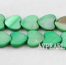 Shell Beads, Fruit Green, 3*12mm dyed heart shape, Sold per 15-inch strand