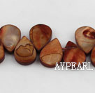 Shell Beads, Dyed red brown, 10*15mm drop shape, Sold per 15.7-inch strand