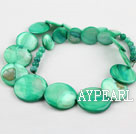 Shell Beads, Green, 6*15*18*20mm dyed tower shape, Sold per 18.5-inch strand