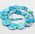 Shell Beads, Turquoise Blue Color, 6*15*18*20mm dyed tower shape, Sold per 18.5-inch strand