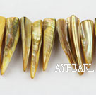 Shell Beads, Yellow, 5*8*35mm dyed long tooth, Sold per 15-inch strand