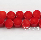 coral beads,5*8mm wafer,red,about 31 strands/kg