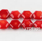 coral beads,4*10*11mm hexagon,red,about 37 strands/kg