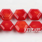 coral beads,5*12*14mm hexagon,red,about 29 strands/kg