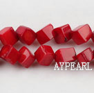 coral beads,8mm cube,red,about 32 strands/kg