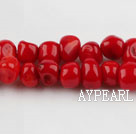 coral beads,5*7mm baroque,red,about 27 strands/kg