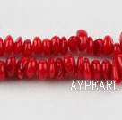 coral beads,3*6mm flat,red,about 15 strands/kg