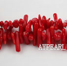 coral beads,4*12mm plantlet,red,about 28 strands/kg