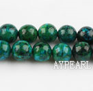 Chrysocolla beads, Green, 8mm round, Sold per 15.7-inch strand