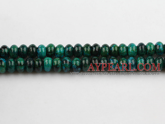Chrysocolla beads, Green, 5*8mm, abacus shape, Sold per 15.7-inch strand