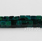 Chrysocolla beads, Green, 7*7mm square, Sold per 15.7-inch strand