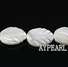 Shell Beads, White, 15*20mm leaf shape, lip shell,Sold per 15.75-inch strands