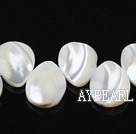 Shell Beads, White, 15*20mm drop shape, lip shell,Sold per 14.96-inch strands