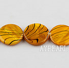 shell beads, spray painted ,3*20mm,yellow,,sold per 15.75-inch strand