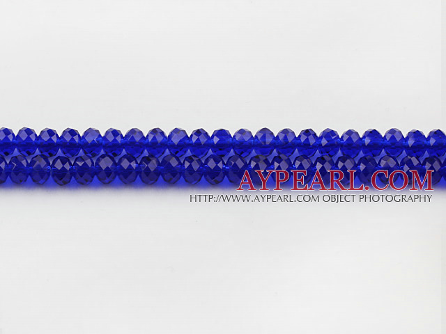 Lampwork Glass Crystal Beads, Sapphire Blue, 6mm flat, Sold per 16.9-inch strand