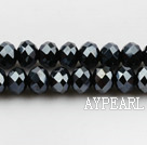 Lampwork Glass Crystal Beads, Black, 8mm faceted platode, Sold per 16.5-inch strand