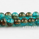 Lampwork Glass Crystal Beads, Double Color, 8mm round frizzling shape, Sold per 31.5-inch strand