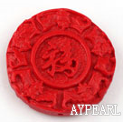 Cinnabar Beads,10*32mm flat round,Red,Sold by each.