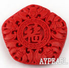 Cinnabar Beads,10*43mm pentagon,Red,Sold by each.