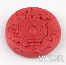Cinnabar Beads,10*42mm flat round,Red,Sold by each.