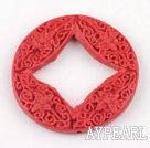Cinnabar Beads,5*46mm coin,Red,Sold by each.