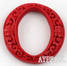 Cinnabar Beads,10*50mm ring,Red,Sold by each.