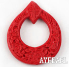 Cinnabar Beads,6*42*50mm ring,Red,Sold by each.