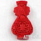 Cinnabar Beads,10*27*48mm vase,Red,Sold by each.