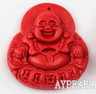 Cinnabar Beads,10*37*45mm Buddha,Red,Sold by each.