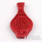 Cinnabar Beads,7*30*50mm,vase,red,Sold by each.