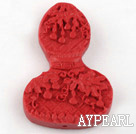Cinnabar Beads,8*30*48mm,flat calabash,red
