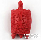 Cinnabar Beads,20*25*45mm turtle,red Sold by each.