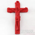 Cinnabar Beads,40*70mm cross ,red ,Sold by each.
