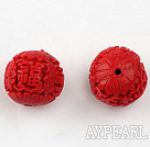 Cinnabar Beads,16mm round with carved Chinese character,Red,Sold by each.