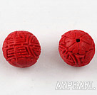 Cinnabar Beads,16mm round,Red,Sold by each.