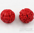 Cinnabar Beads,18mm round,Red,Sold by each.