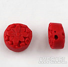 Cinnabar Beads,12mm flat round,Red,Sold by each.