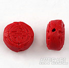 Cinnabar Beads,12mm flat round ,Red,Sold by each.