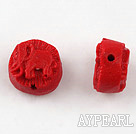Cinnabar Beads,12mm flat round statue,Red,Sold by each.