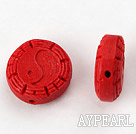 Cinnabar Beads,18mm flat round with carved Eight Diagrams,Red,Sold by each.