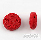 Cinnabar Beads,18mm flat round with carved flower,Red,Sold by each.