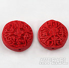 Cinnabar Beads,20mm flat round,Red,Sold by each.