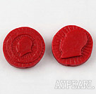 Cinnabar Beads,20mm round statue of chairman Mao,Red,Sold by each.