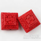 Cinnabar Beads,18mm square,Red,Sold by each.